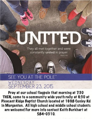 See You At the Pole School Prayer and Youth Rally 9 23 15