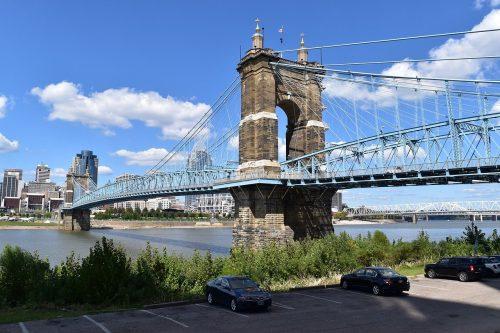 Roebling Suspension Bridge over Ohio River
